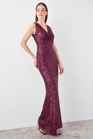Mira Sequin Dress Burgundy