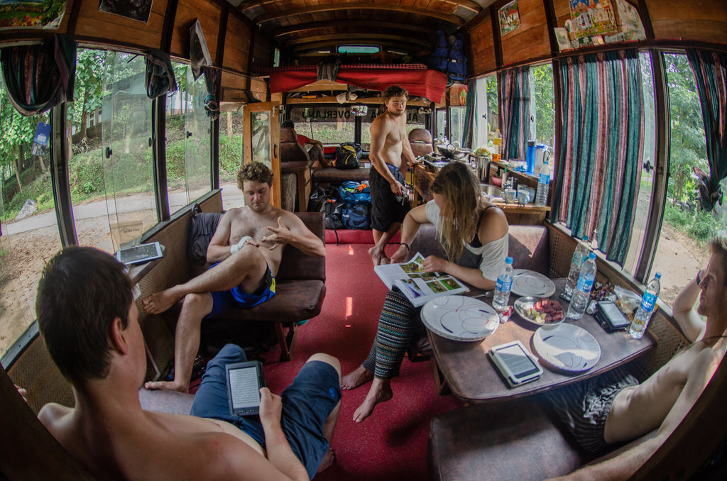 Inside the India Overland Bus