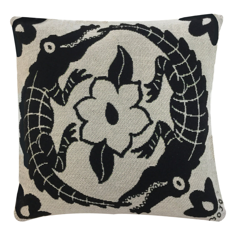 Alligators and Magnolia Pillow Cover
