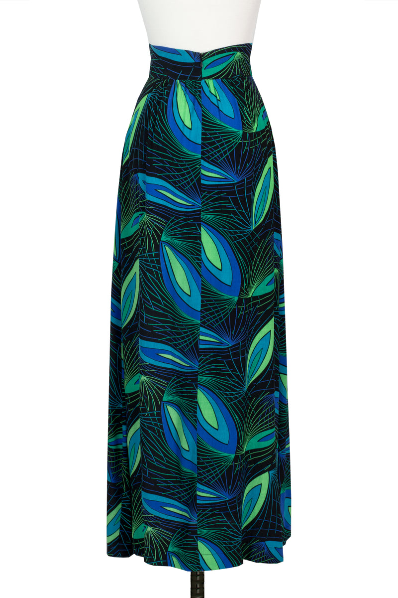 1970s Maxi Skirt - Deco Peacock - Final Sale