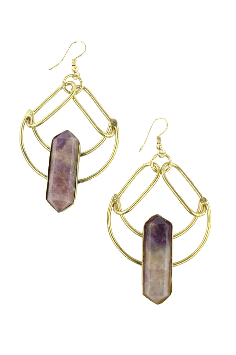 Antique Gold Crescent Amethyst Earrings
