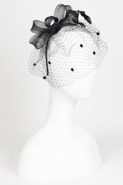 Sinamay Bow Fascinator with Pom Netting