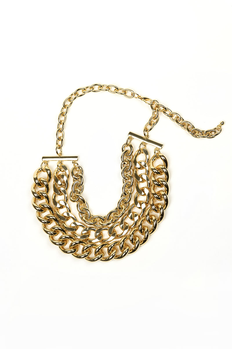 Oversized 80s Style Three Layer Chain Necklace