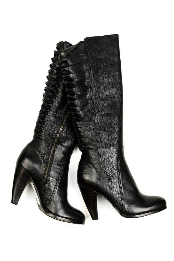 Frye Mikaela Twisted Tall Boot - Black - Trashy Diva