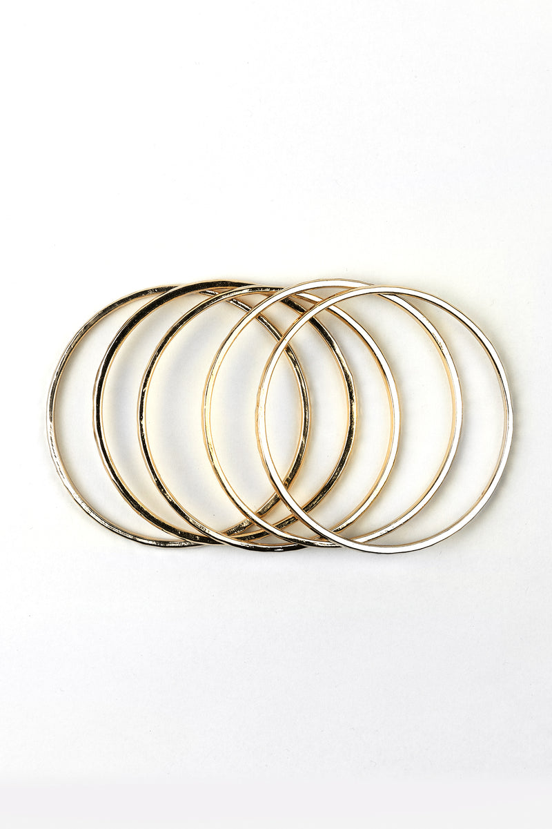 Retro Gold Bangle Stack