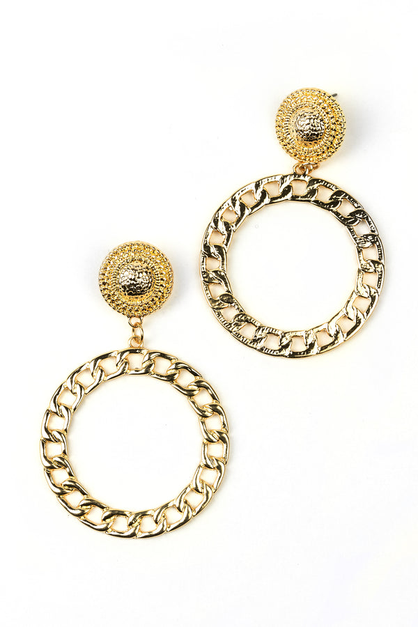 Chain Circle Dangle Earrings