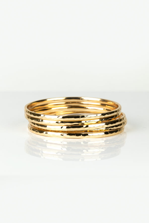 Textured Thin Bangle Stack Bracelets
