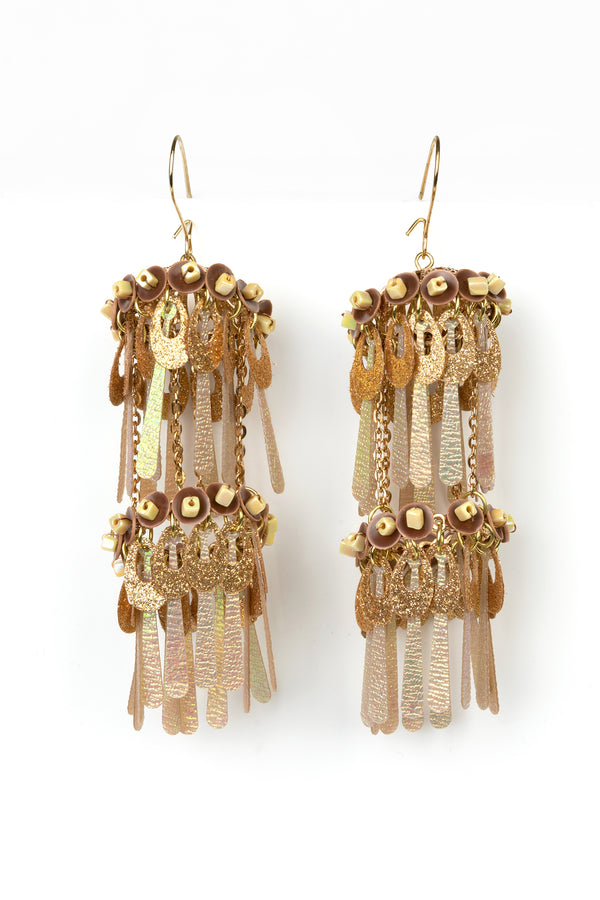 Gold Iridescent Dangle Earrings