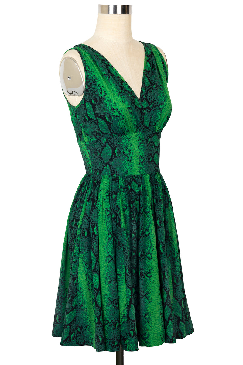 Doris Knee Length Dress - Green Snake