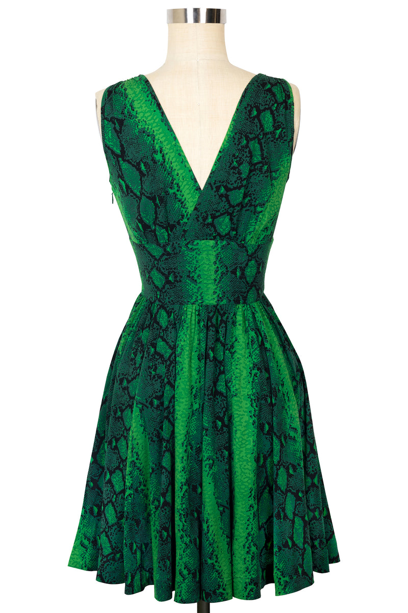 Doris Knee Length Dress - Green Snake - Final Sale