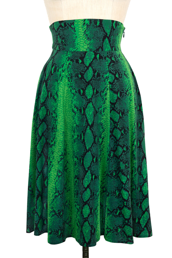 High Waist Ashley Skirt - Green Snake