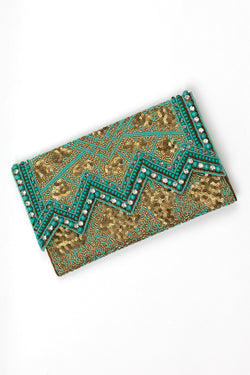 RD Stone Beaded Diamond Cut Clutch
