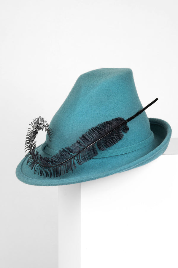 Wool Hat with Curled Feather