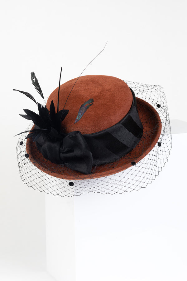 Breton Hat with Black Silk Tie Pom Veil & Feathers
