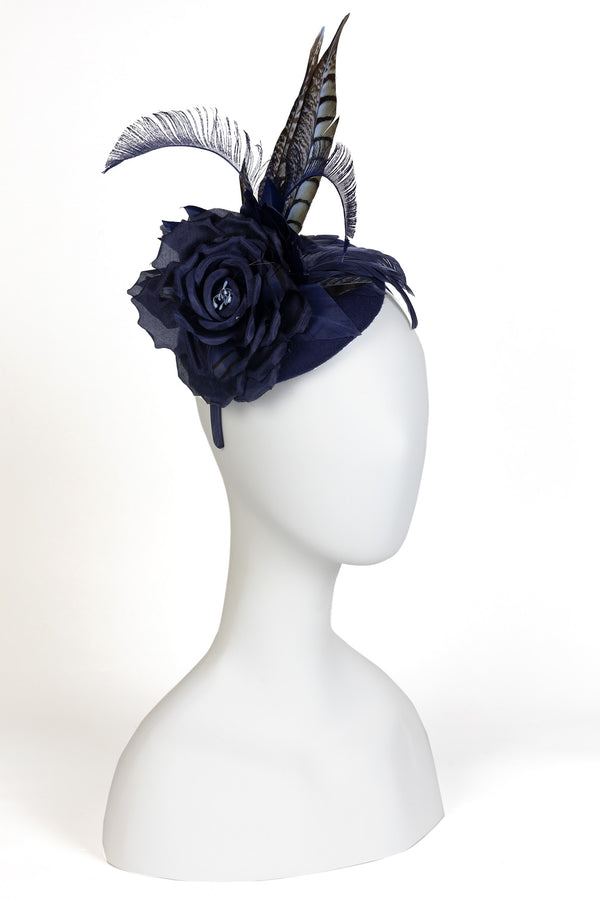 Wool Felt Fascinator  with Rose and Pheasant Feathers
