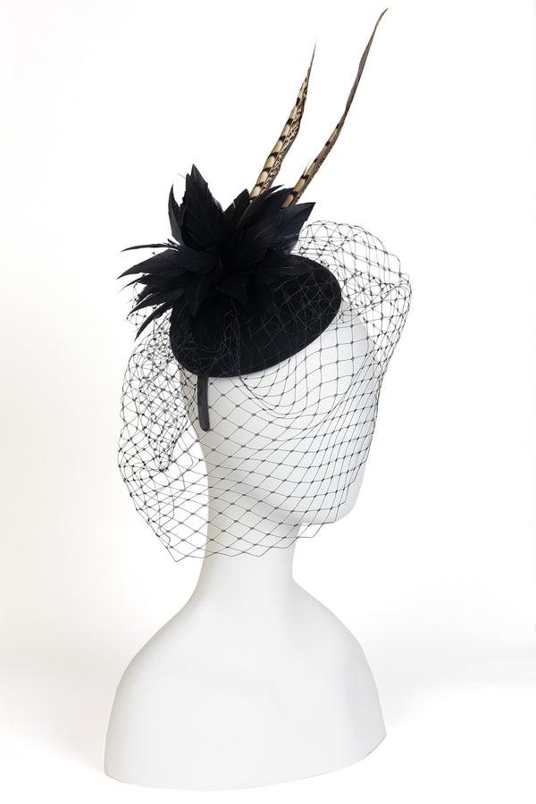 Wool Felt Veiled Fascinator with Pheasant Feathers