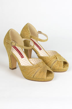 B.A.I.T. Luella High Heel Shoes - Gold Glitter - Trashy Diva