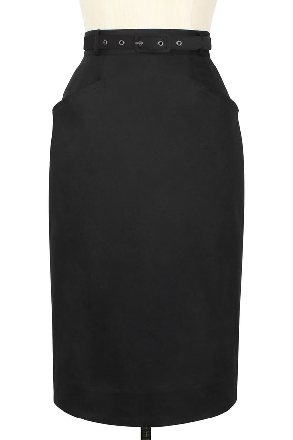 High Waist Pocket Skirt - Black