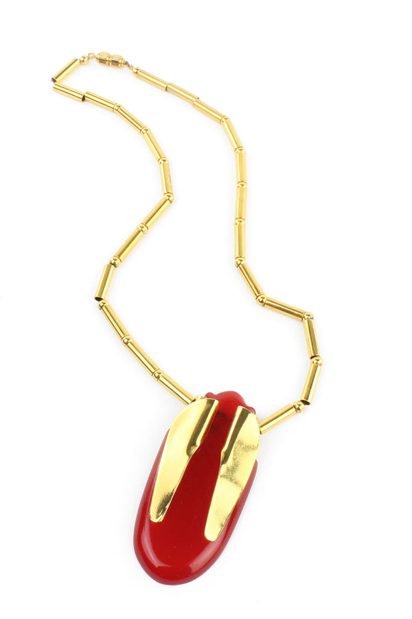30s Red Celluloid & Brass Deco Scarab Necklace