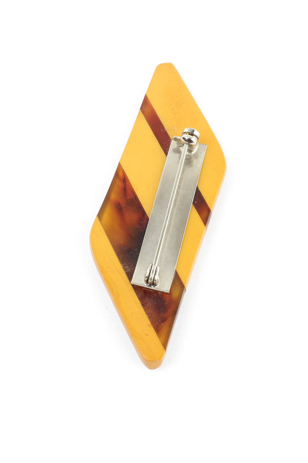Butterscotch & Root beer Swirl Layered Bakelite Pin