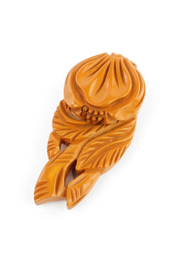 Bakelite Estate- Carved Butterscotch Floral Dress Clip