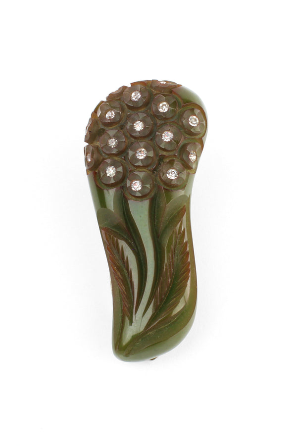 Olive Carved Bakelite & Rhinestone Dress Clip