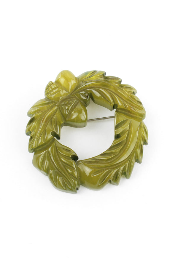 Green Vintage Bakelite Wreath & Acorn Pin