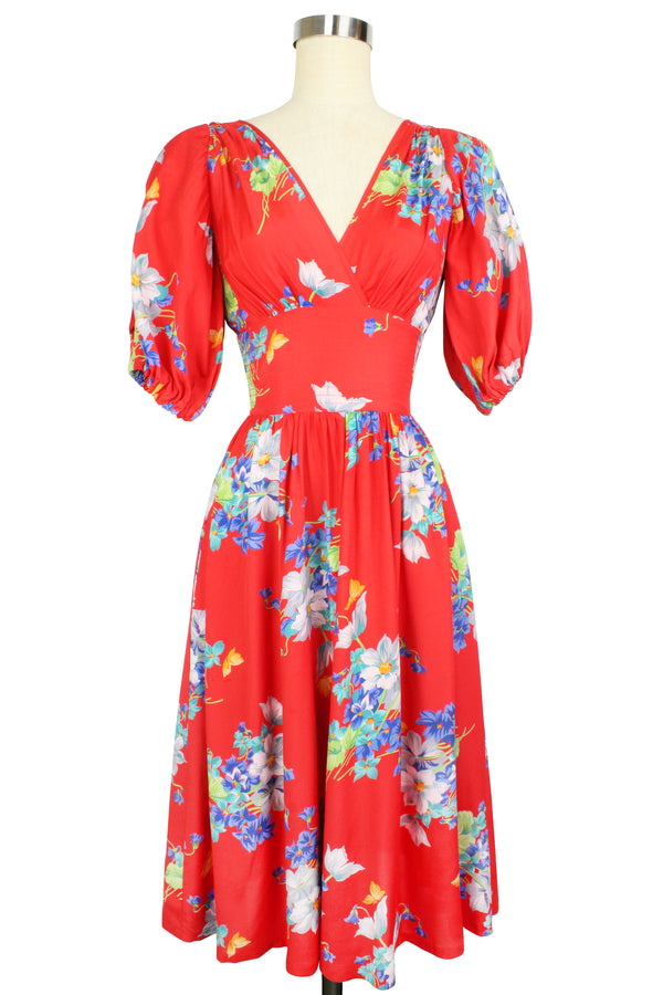 Carmen Midi Dress - Butterflies & Begonias