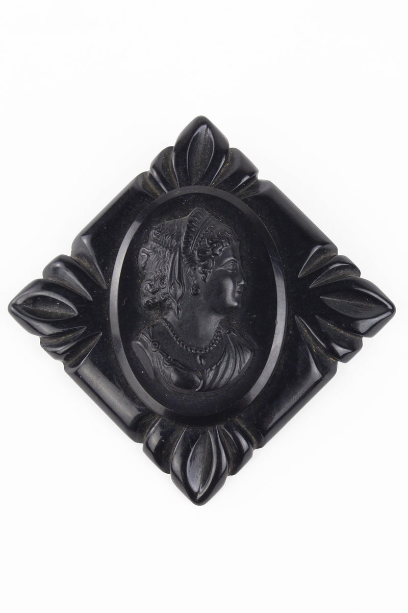 1940s Black Jet Bakelite Carved Cameo Brooch