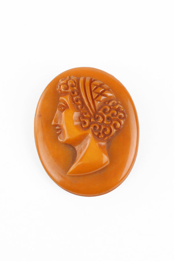 Bakelite Estate - Deeply Carved Cameo Brooch