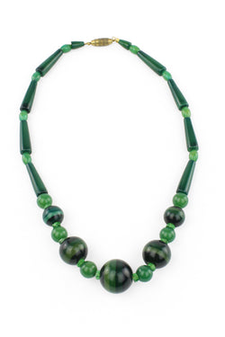 1930s Green Plastic Deco Necklace