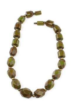 Bakelite Estate - 1930s Olive Chunky Faced Bakelite Necklace