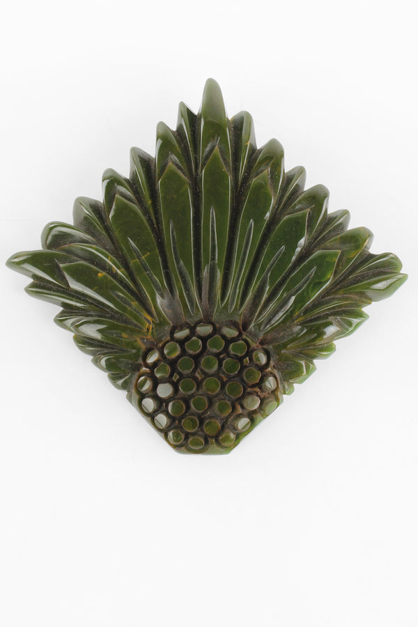 Spinach Green Deeply Carved Bakelite Broach