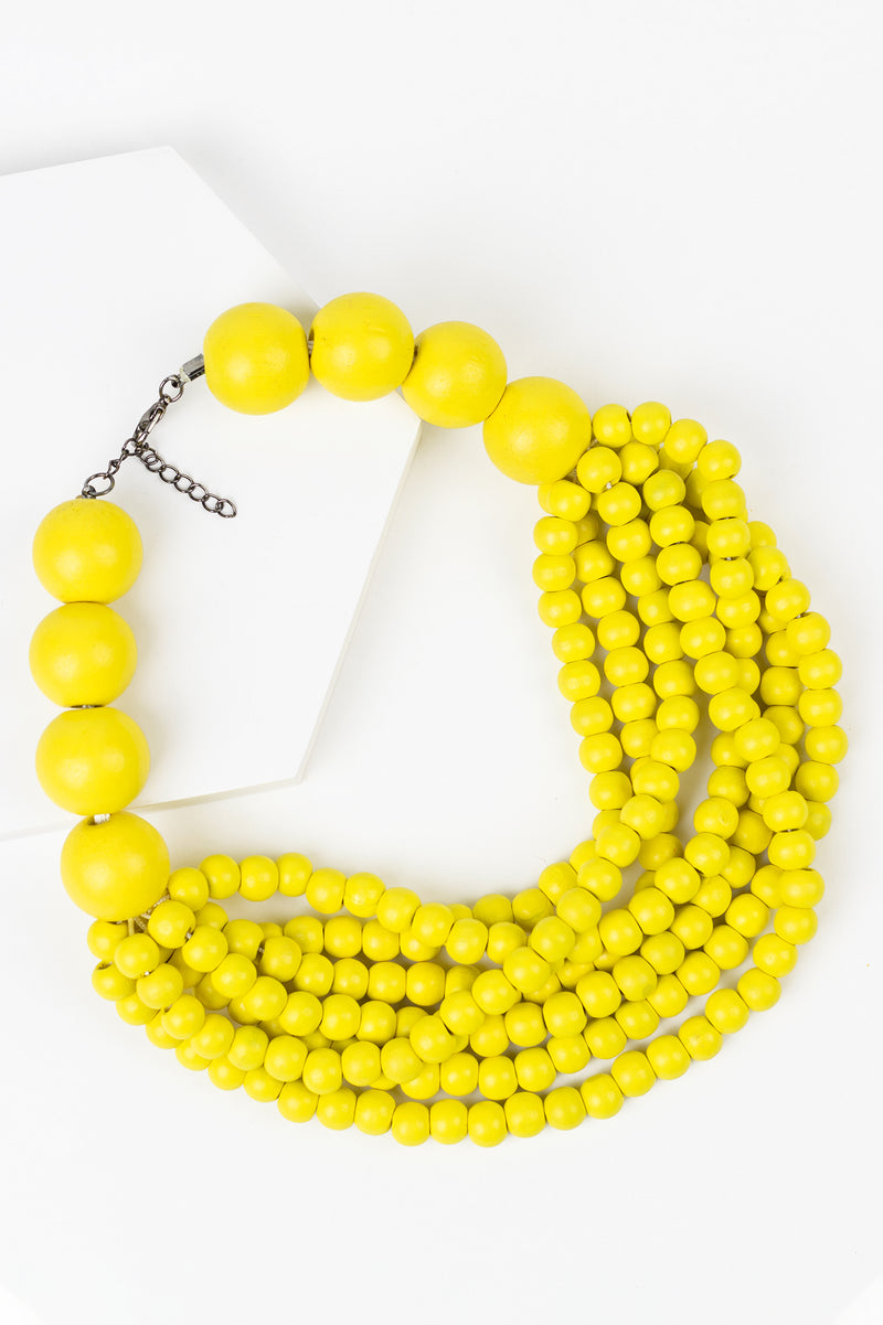 Wooden Beaded Bib Necklace