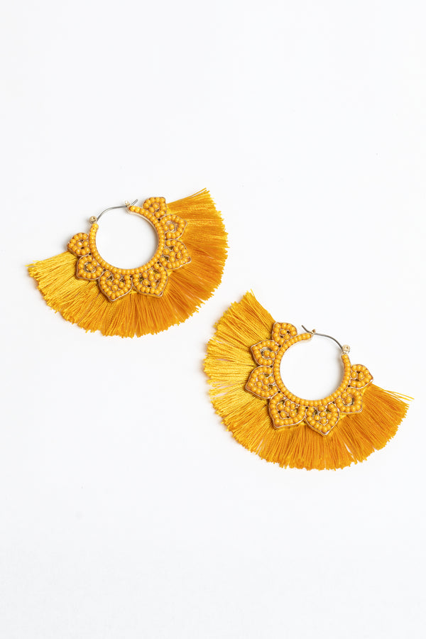 Beaded Filigree & Fan Earrings