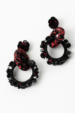 Beaded Floral Rings Earrings