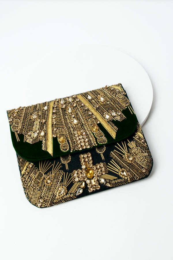 Beaded Velvet Deco Clutch