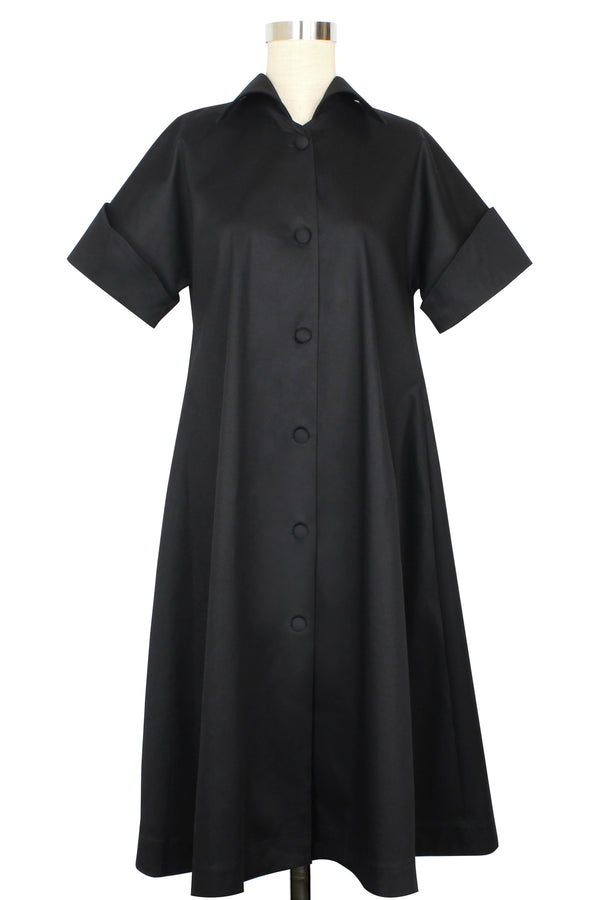 Trapeze Coat Dress- Black