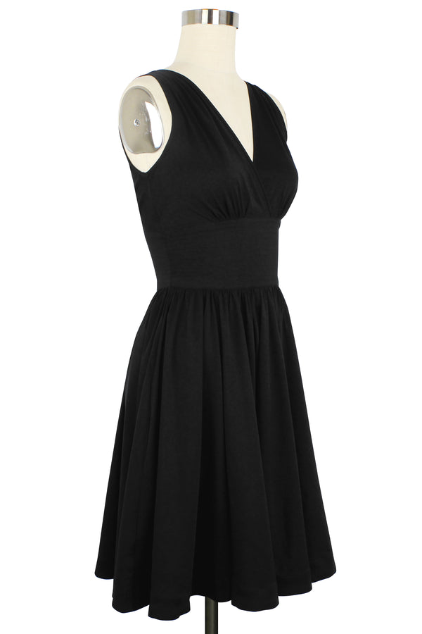 Doris Knee Length Dress - Black Rayon Stretch