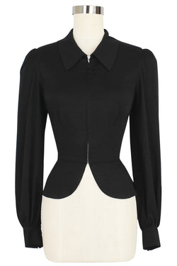 Girl Friday Peplum Top - Black Rayon Stretch