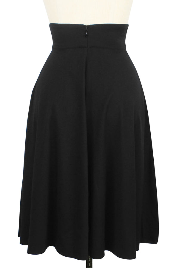 40s Skirt - Black Rayon Stretch