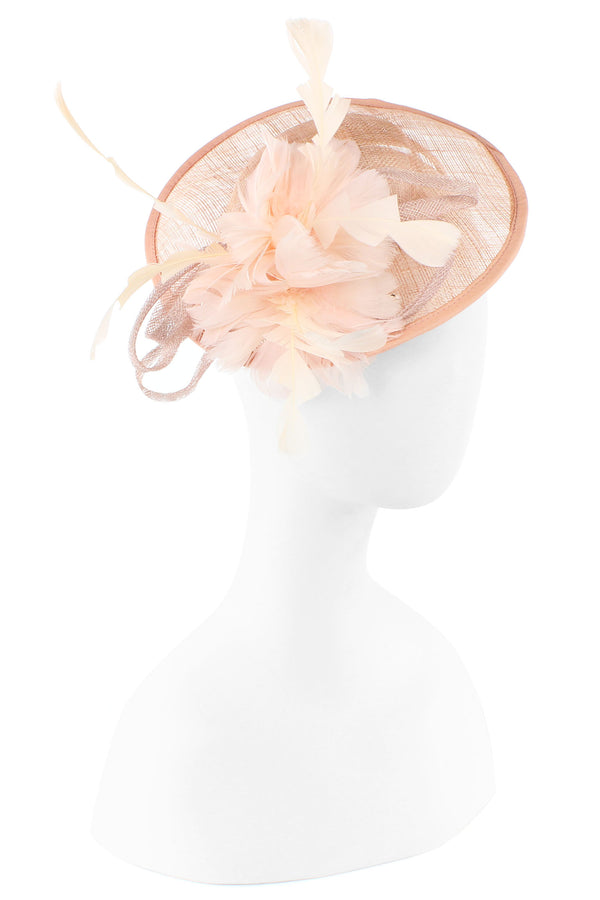 Sinamay Disc Fascinator with Silk Flower