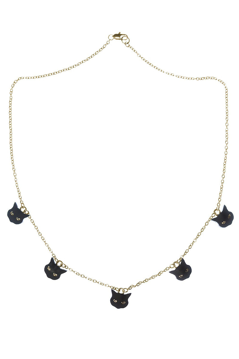 Rosita Bonita Little Black Cat Charm Necklace