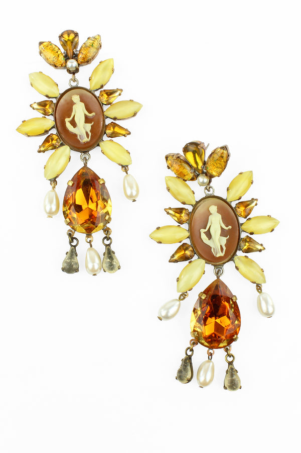 De Luxe Amber Cameo Earrings