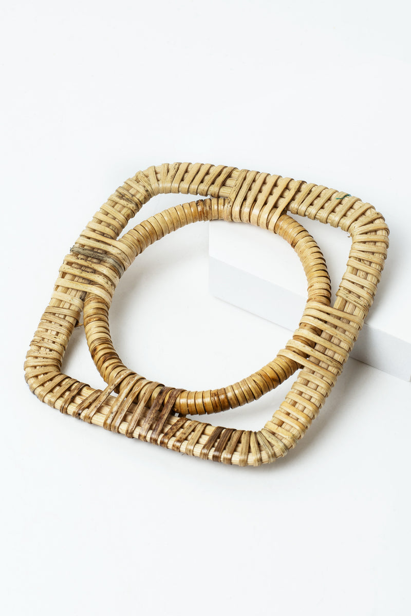 Circle in Square Rattan Bangle