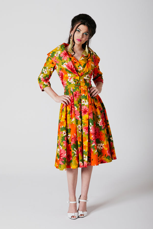 Kelly Coat Dress - DayGlow Floral - Pre Order