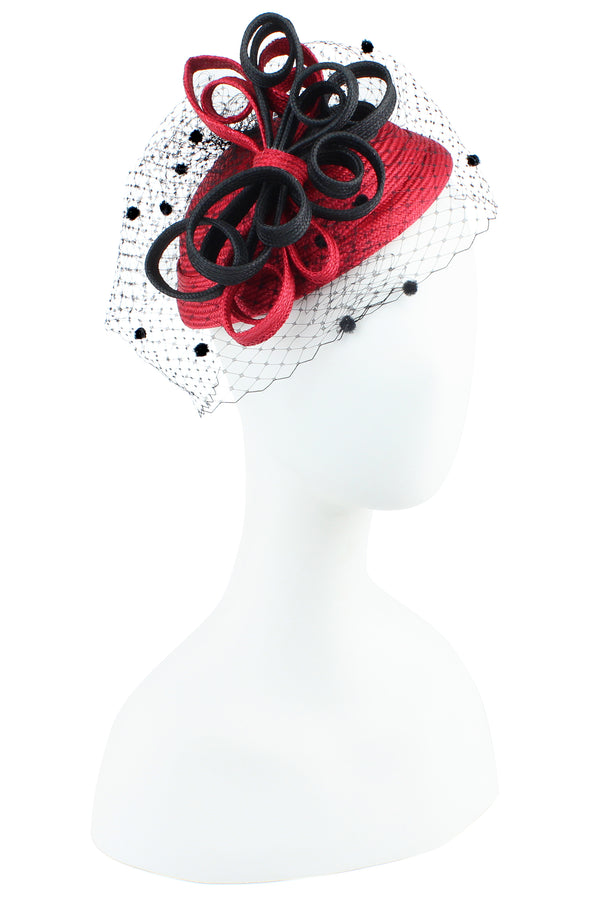 Kathy Jeanne Fascinator with Curls and Netting