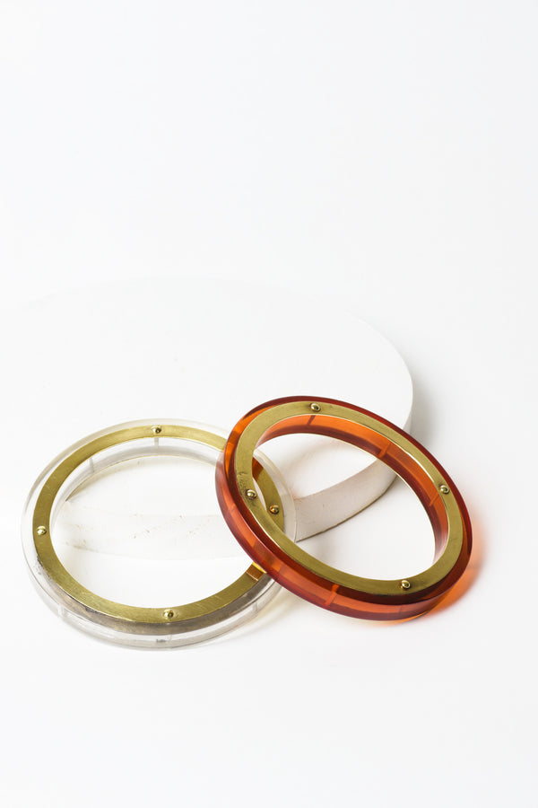 Resin Brass Bangle Stack Clear and Dark Amber
