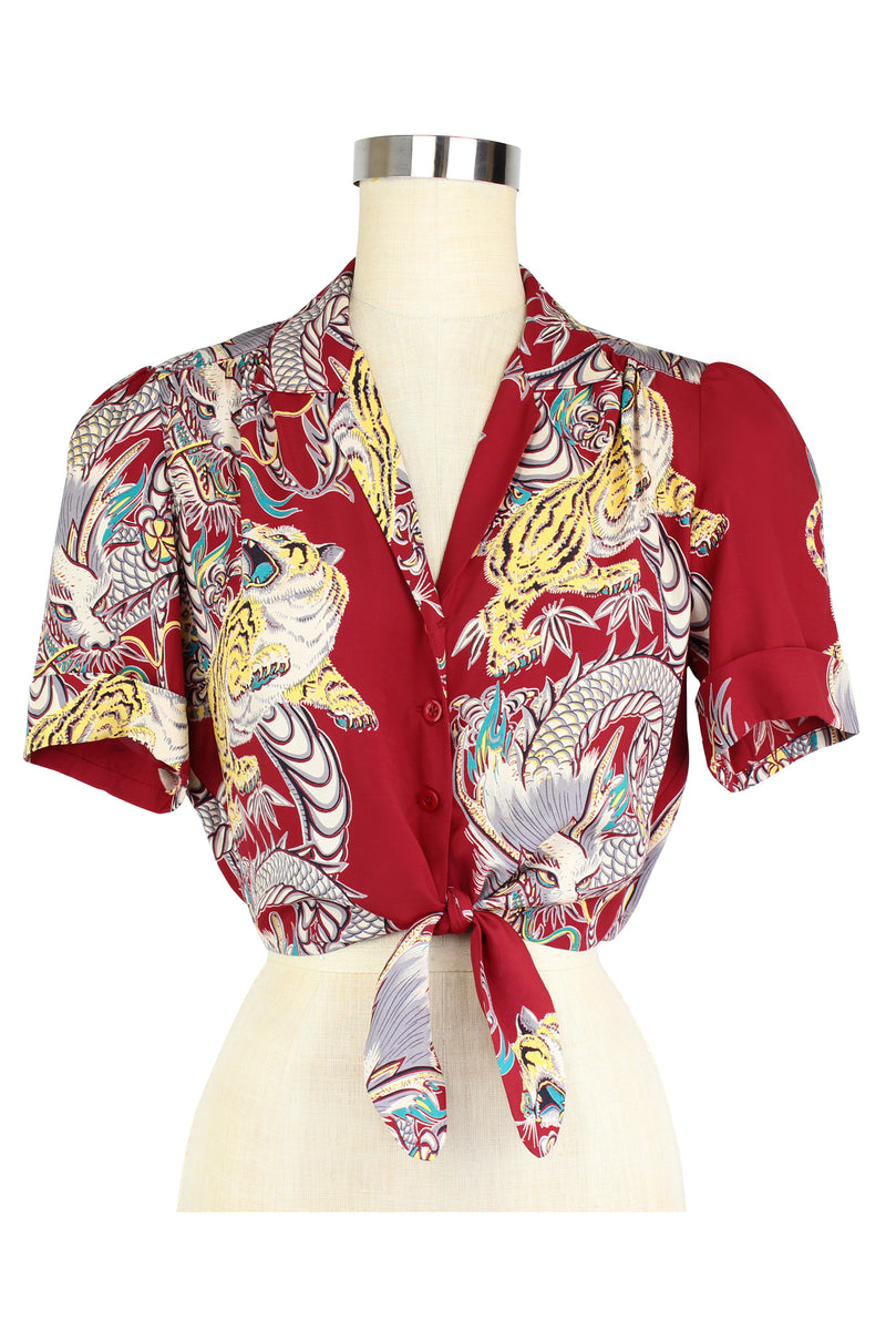 Pinup Tie Top - Dragons & Tigers