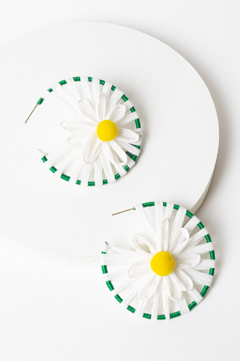 Flower Power Daisy Hoop Earring